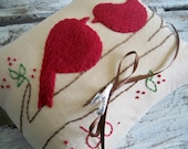 I do. Love Birds Primitive Wedding Ring Bearer Pillow in cranberry