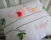 RESERVED for Melissa.  Custom Personalized Baby/ Toddler Mother and Baby Bird Pillow