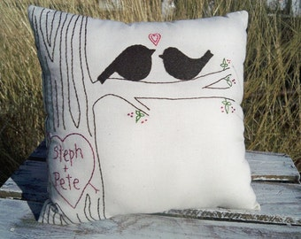 Large Personalized Love Bird Pillows with Faux Bois Stitching