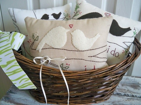 Two Nuzzling Lovebirds Primitive Wedding Ring Bearer Pillow
