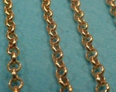 4 ft 2 mm gold vermeil bulk unfinished rolo link chain (gold plated sterling silver)