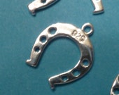 Sterling silver Horse shoe charm with 1 loop - 4 pieces