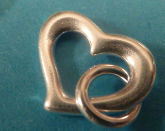 2 sterling silver heart shape charms with open jump rings