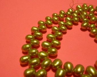 1 full strand fresh water 7 mm x 5 mm green tea dyed pearl