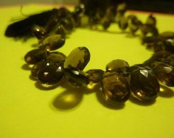 1 full strand 11mm x 7mm x 5mm flat teardrop faceted smoky quartz briolettes