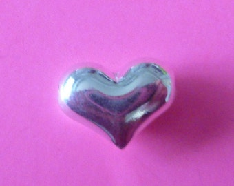 2 pcs 14 mm sterling silver puffed heart bead