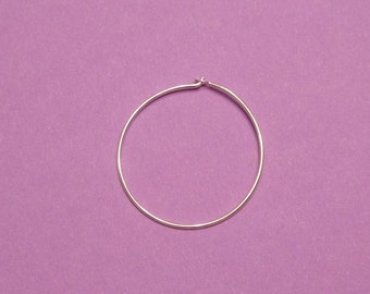Count 6 Sterling silver 25 mm solid wire hoop earring