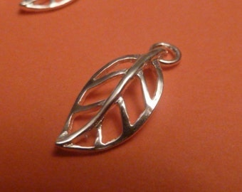 20 pcs 16 mm sterling silver 3D filgree leaf charm pendant with 1 loop