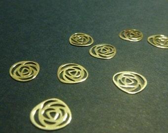 10 pcs sterling silver rose filigree charm