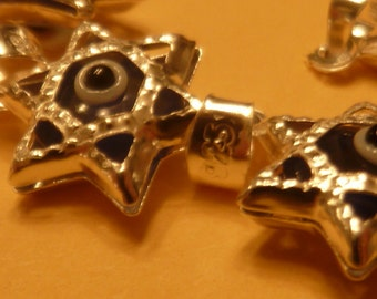 Sterling silver hammered star charm - 2 pcs