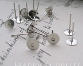 200pcs Nickel Free - High Quality Silver Plated Brass Earring Posts With 6mm Pad (18051)