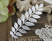 5pcs Nickel Free - High Quality LARGE Silver Plated Brass Long and Leafy Branch Stamping Charms / Pendant (EBD03-S)