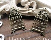 10Pcs Antiqued Vintage Bronze Bridcage Charms / Pendant (23786)