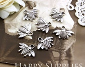 10Pcs Nickel Free - High Quality Antiqued Silver Bees Charms / Pendants (HG196)