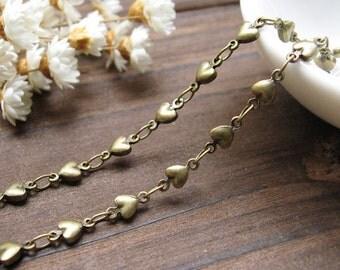 3.3 Feet (1M) Antique Bronze Brass Heart Chains (21496)
