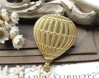 5pcs Nickel Free - High Quality LARGE Raw Brass Hot Air Balloon Charm / Pendant (ZG115)