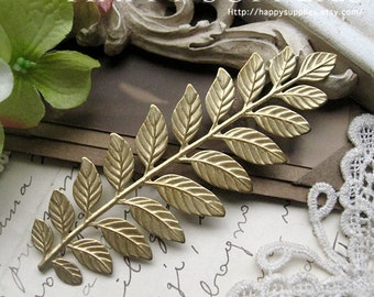 10pcs Nickel Free - High Quality LARGE Raw Brass Long and Leafy Branch Stamping Charms / Pendant (EBD03-R)