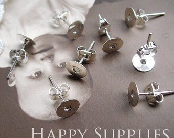 200pcs Nickel Free - High Quality Silver Plated Brass 6mm Earring Posts With Ear Studs Back Stoppers (10531)