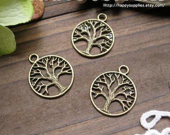 10Pcs Antiqued Vintage Bronze Tree Charms / Pendants (24571)