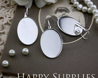 10Pcs 18x25mm Silver Plated Cabochon Pendant Base N Earring Finding (XE170)