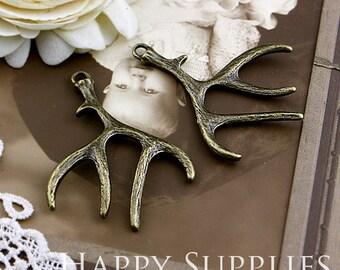 2Pcs Nickel Free - High Quality Large Antiqued Vintage Bronze Deer Antlers Charms / Pendant (SG189)
