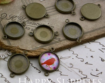 10Pcs 12 mm Antique Bronze Plated Cabochon Pendant Base with 2 loops (GD156)