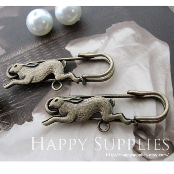 8Pcs 40mm Antique Brass Plated Rabbit Safety Pin / Brooch with 1 Hole (GX212)