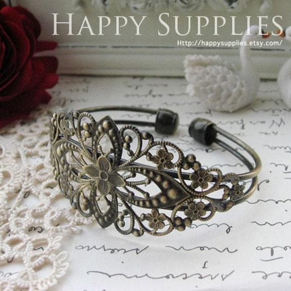 2Pcs Nickel Free - High Quality Antique Bronze Filigree Pad Cuff -Bracelet (ZS224)