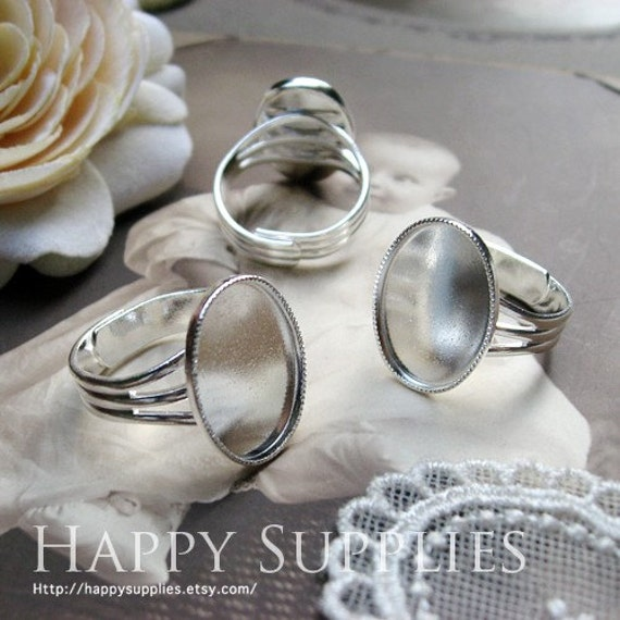 8Pcs (13x18mm) Nickel Free - High Quality 19mm (13x18mm) Adjustable Silver Plated Brass Ring Base (ZJ130)