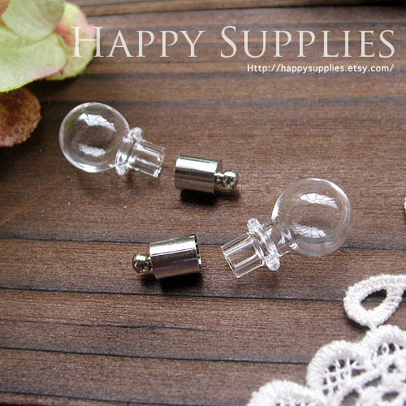 Last - Big Sale -18Pcs Lovely Glass bottle pendants with a Loop on top - Ball (BL004)-Clearance Sale