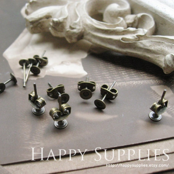40pcs Nickel Free - High Quality Antique Bronze Copper Earring Posts With Ear Studs Back Stoppers (BJJ027)