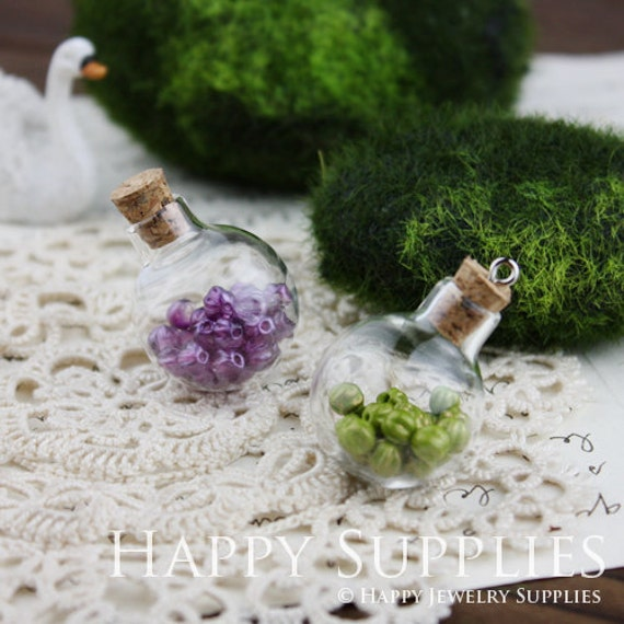 5Pcs Lovely Globe bottle pendants with a Loop on top - Ball (BL008)