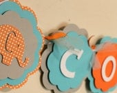 Elephant Name or It's A Boy Banner Orange, Sky Blue, and Gray Polka Dot Boy BIrthday Baby Shower Party Decorations