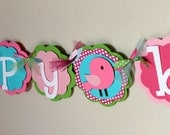 "Birdie ""happy birthday"" Banner Pink Hot Pink Lime Green Turquoise Polka Dot Bird Baby Shower Girl Shabby Chic First Party Room Decorations"