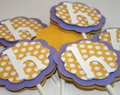 Custom Monogram Cupcake Toppers Yellow Polka Dot and Purple