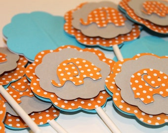 Elephant Orange and Sky Blue Cupcake Toppers Polka Dot Birthday Baby Boy Shower Party Decorations
