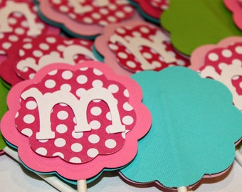 Pink Polka Dot Monogram Letter or Number Cupcake Toppers Hot Light Turquoise Green Shabby Chic Birthday Party Decorations Baby Shower Cake