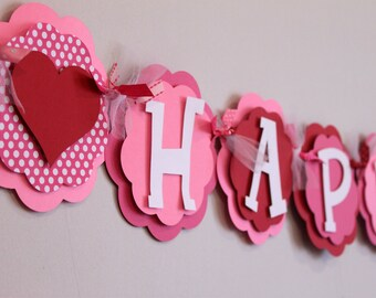 Pink and Red Polka Dot Heart Happy Birthday Banner Valentine Love