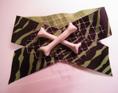 Green Zebra striped Hairbow  with Crossbones