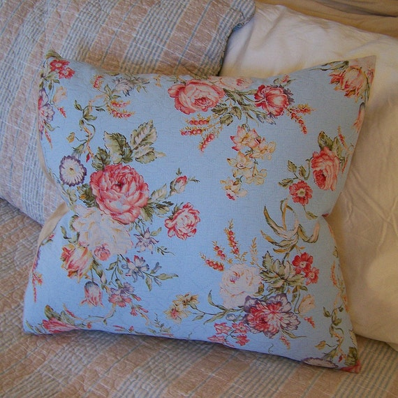 Shabby Chic Blue Pillows : shabby chic blue and roses pillow FREE SHIPPING by PinkyRoo
