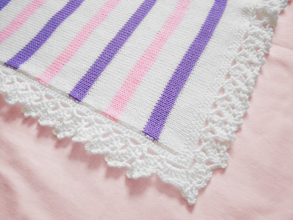 Knit baby blanket for baby girls in white with Pink and Lilac stripes