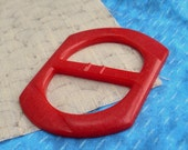 "Vintage Bakelite Buckle - Bright Red Crackle - 2.5"" oblong"