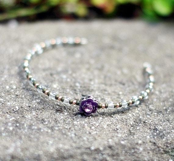 BJD size Beaded Headband with Swarovski Crystal purple