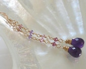 Delilah Handmade Earrings - amethyst, peach and pink tourmaline, garnet and 14k goldfill.