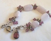 Rosalie Handmade Bracelet - Baby pink kunzite, berry red garnet, pale pink amethyst and oxidized sterling silver