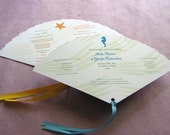 Fan Program - Beach Seahorse Palm Leaf  Starfish- Wedding Ceremony Program