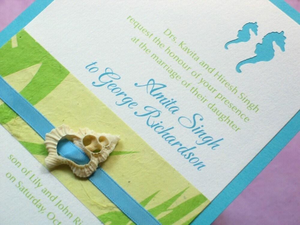 Etsy Beach Wedding Invitations: Beach Wedding Invitation Sample Diecut Seahorse With