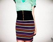 New Vtg. 80's Disco Stripe High Waist Zip Front Bodycon Pencil Skirt M/L
