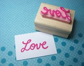 Love Stamp - Retro Love - Hand Carved Rubber Stamp