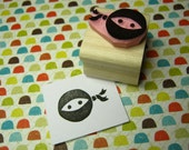 Mini Ninja - Hand Carved Rubber Stamp - Boy Rubber Stamp - Gift for Ninja Lover - Stocking Stuffer - Handmade Stamper - Ninja Mask